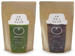 九州アミノシェイク パッケージ写真 緑茶きのこ・ココア